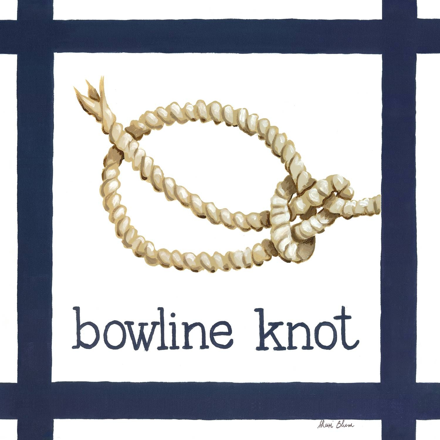 Nautical Nursery Decor, Nautical Knot Bowline Canvas Wall Art For Kids regarding Best and Newest Nautical Canvas Wall Art