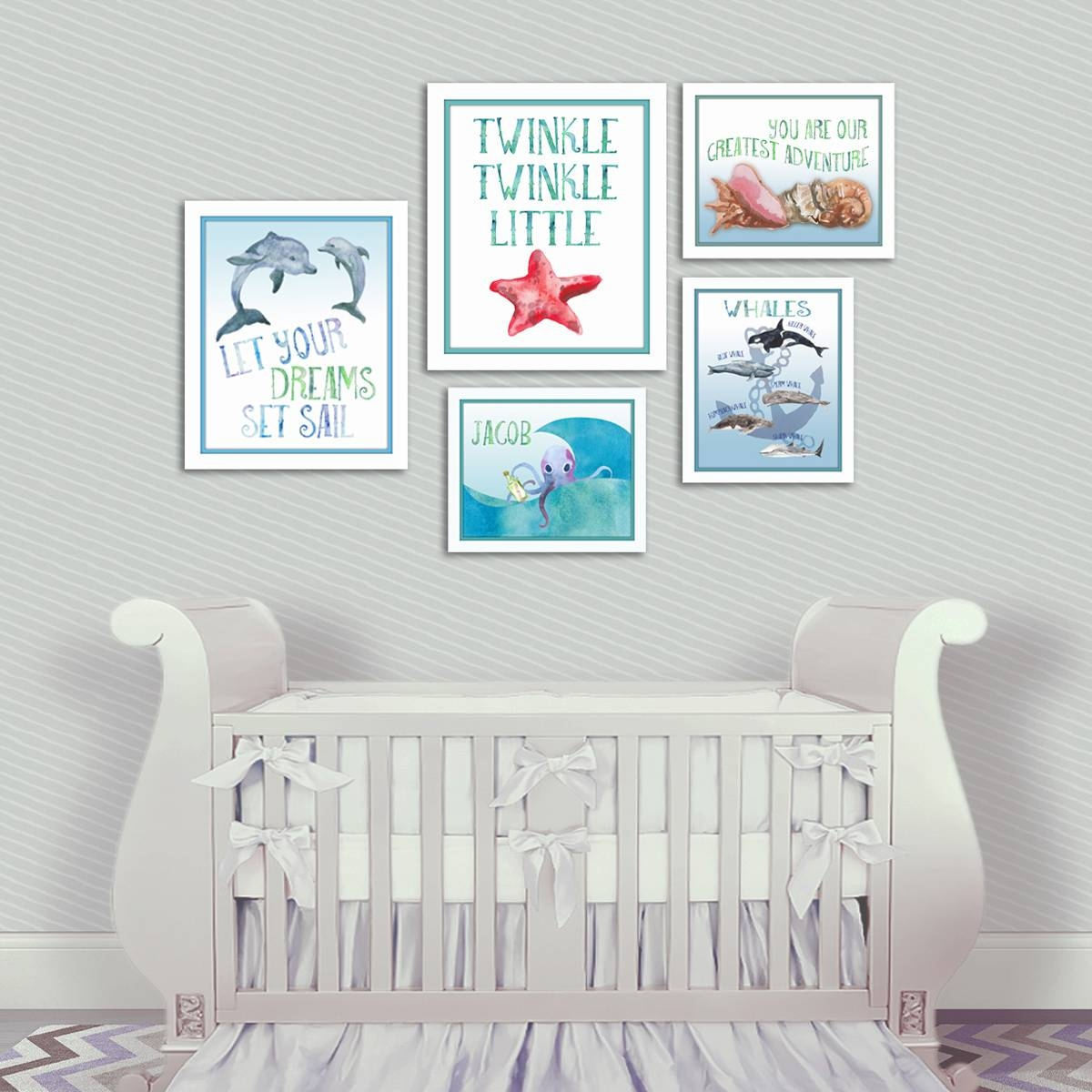 Nautical Nursery Dolphin Wall Art – Artsy Pumpkin With Most Recently Released Nursery Wall Art (View 4 of 20)