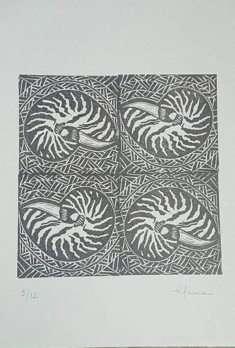 Nautilus Shell Handmade Original Print Wall Art Seashell For Most Up To Date Polynesian Wall Art (View 6 of 20)