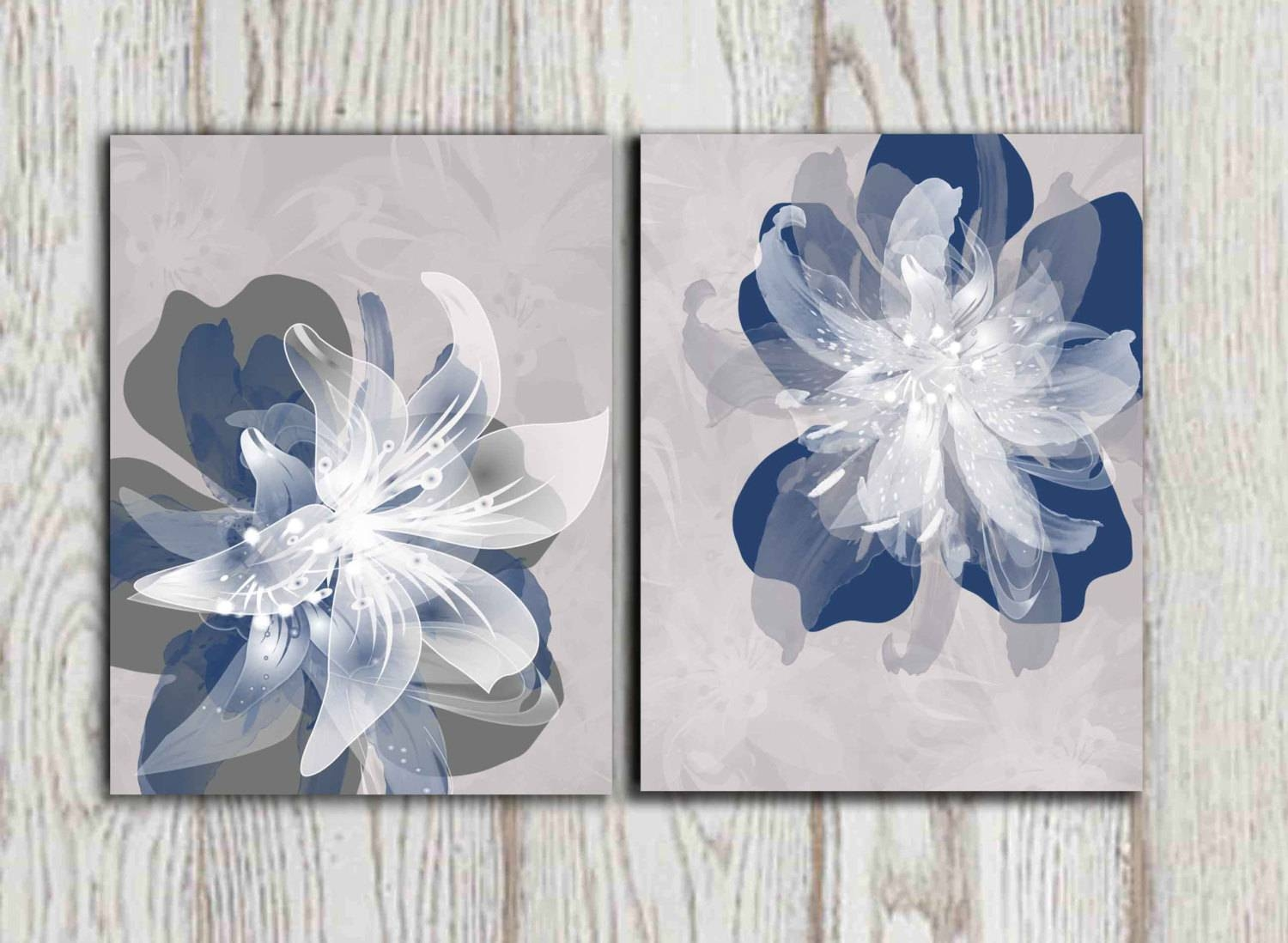 Navy Blue Gray Flower Wall Art Prints Large Poster Print Within Current Blue And White Wall Art (View 11 of 20)