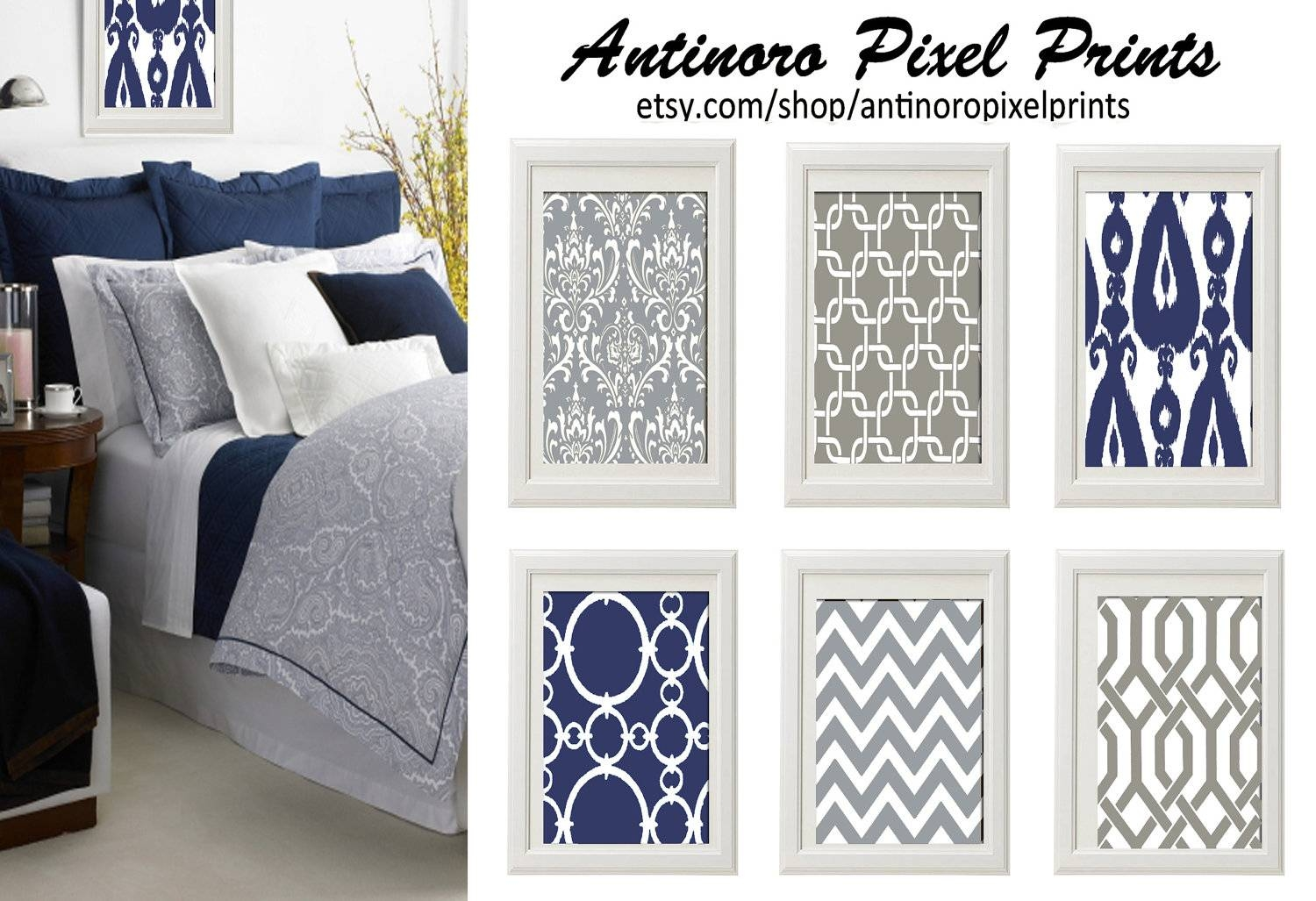 Navy Blue Grey White Wall Art Vintage / Modern Inspired Set intended for Most Up-to-Date Dark Blue Wall Art