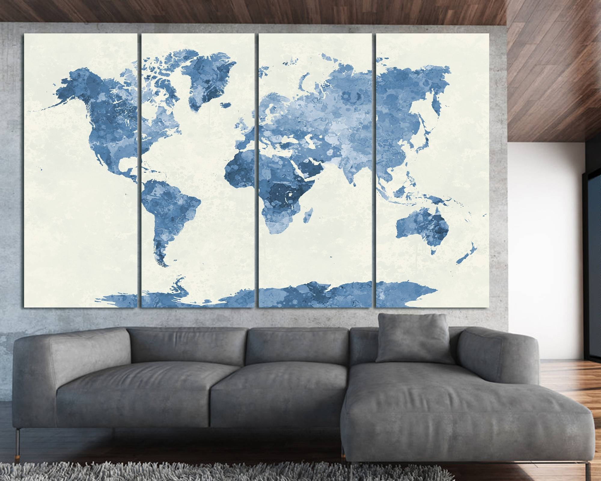 Navy Blue Watercolor World Map Print At Texelprintart Within 2018 Navy Blue Wall Art (View 6 of 20)