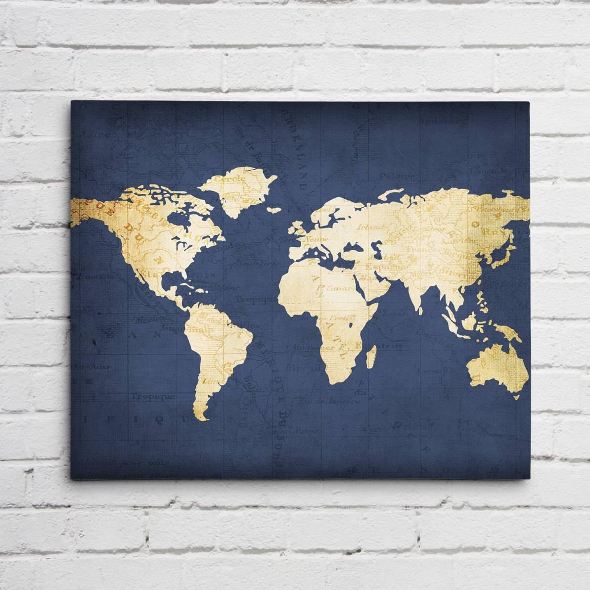 Navy Blue World Map intended for 2018 Dark Blue Wall Art