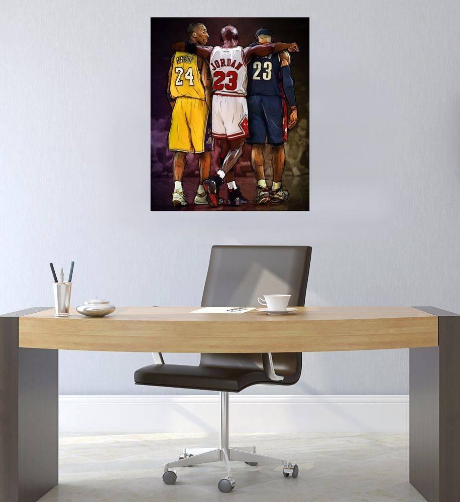 Nba Wall Art Michael Jordan, Kobe Bryant, Lebron James Canvas Within Recent Nba Wall Murals (Gallery 21 of 25)
