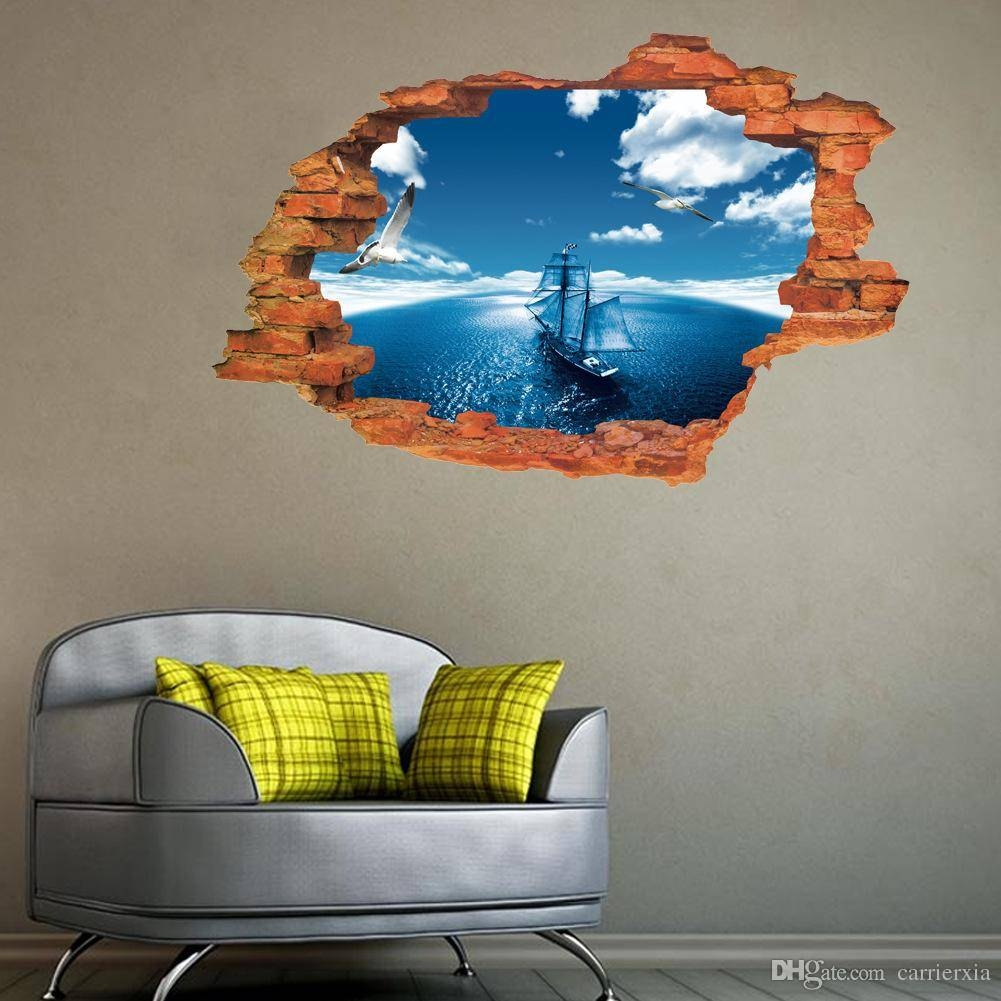 New 3D Effect Blue Sky Sea Sailboat Broken Wall Art Mural Wall With Most Recent 3D Effect Wall Art (Gallery 8 of 20)