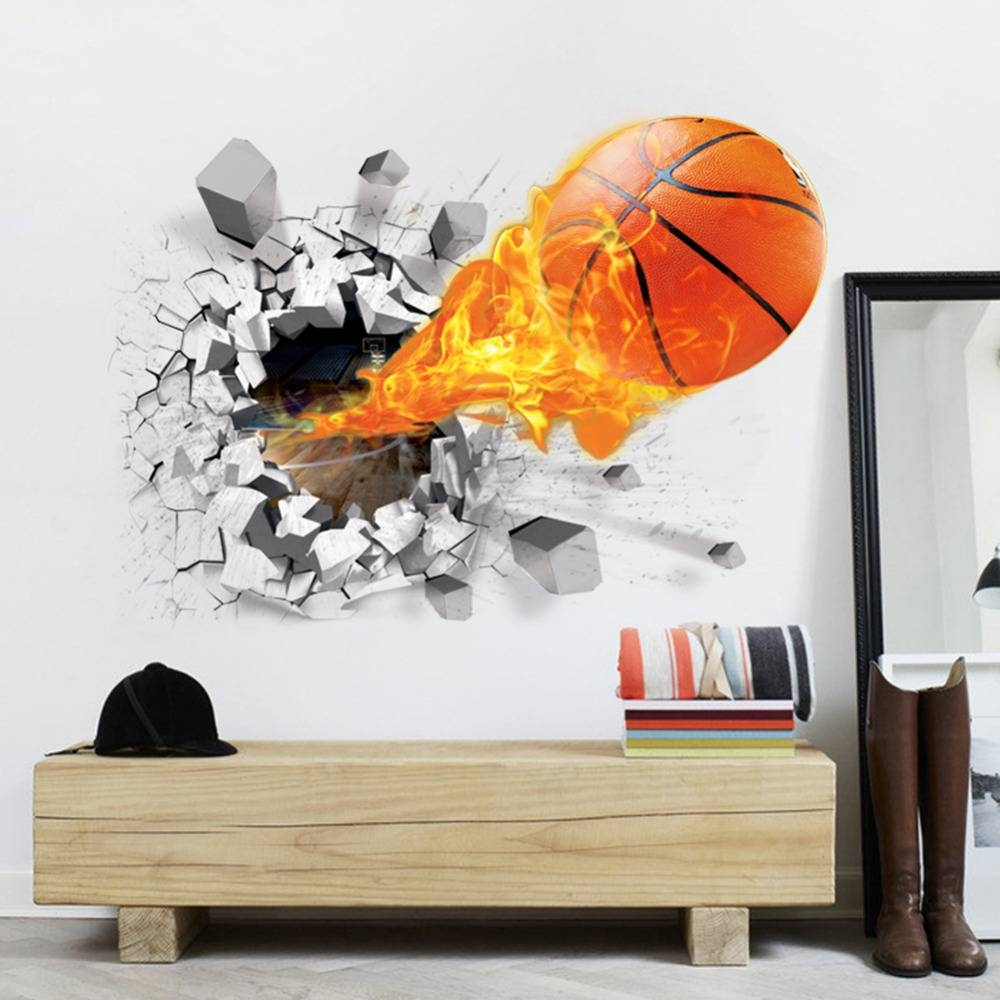 New Arrival 3D Lifelike Basketball Wall Stickers Nba Basketball With Regard To 2018 Nba Wall Murals (Gallery 2 of 25)