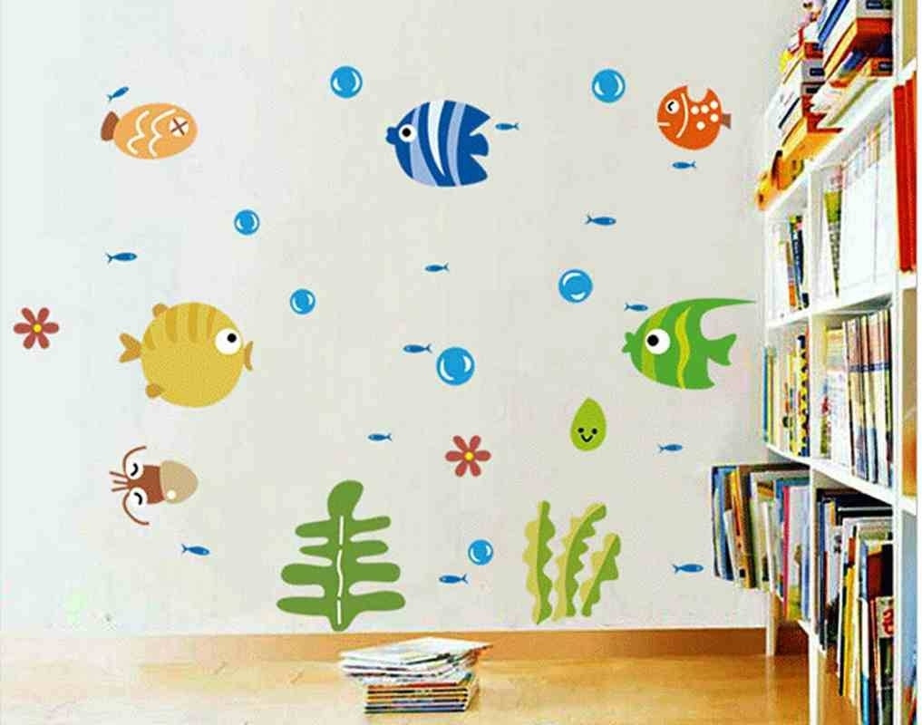New Arrival Bubble Fish Font B Wall Stickers Decorative Painting B Inside Newest Fish Decals For Bathroom (View 22 of 30)