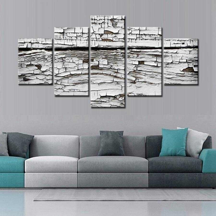 New Arrival Home Decor White Wood Grain Canvas Painting Artwork Intended For Best And Newest Modular Wall Art (View 5 of 25)