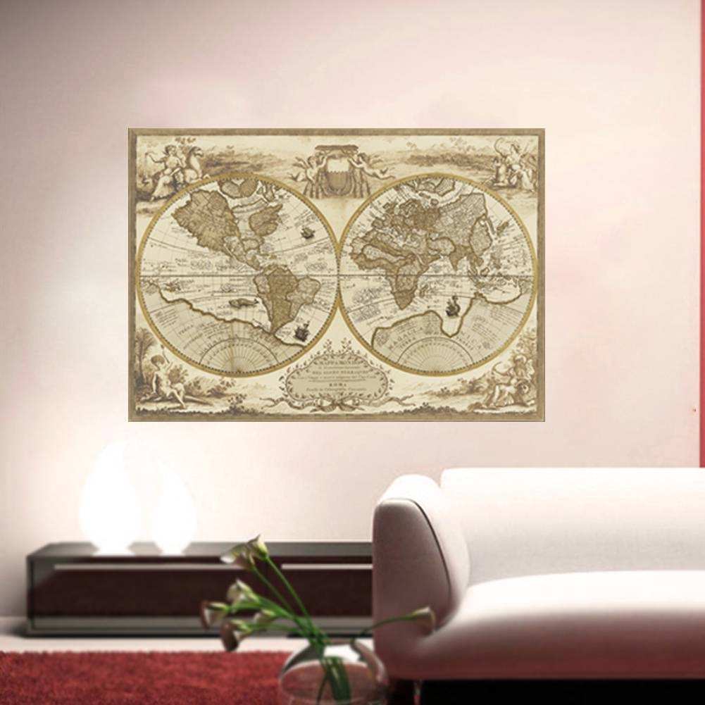 New Arrival Vintage Style Retro World Map Wall Sticker Poster Wall Pertaining To Most Recent Vintage Style Wall Art (View 14 of 20)