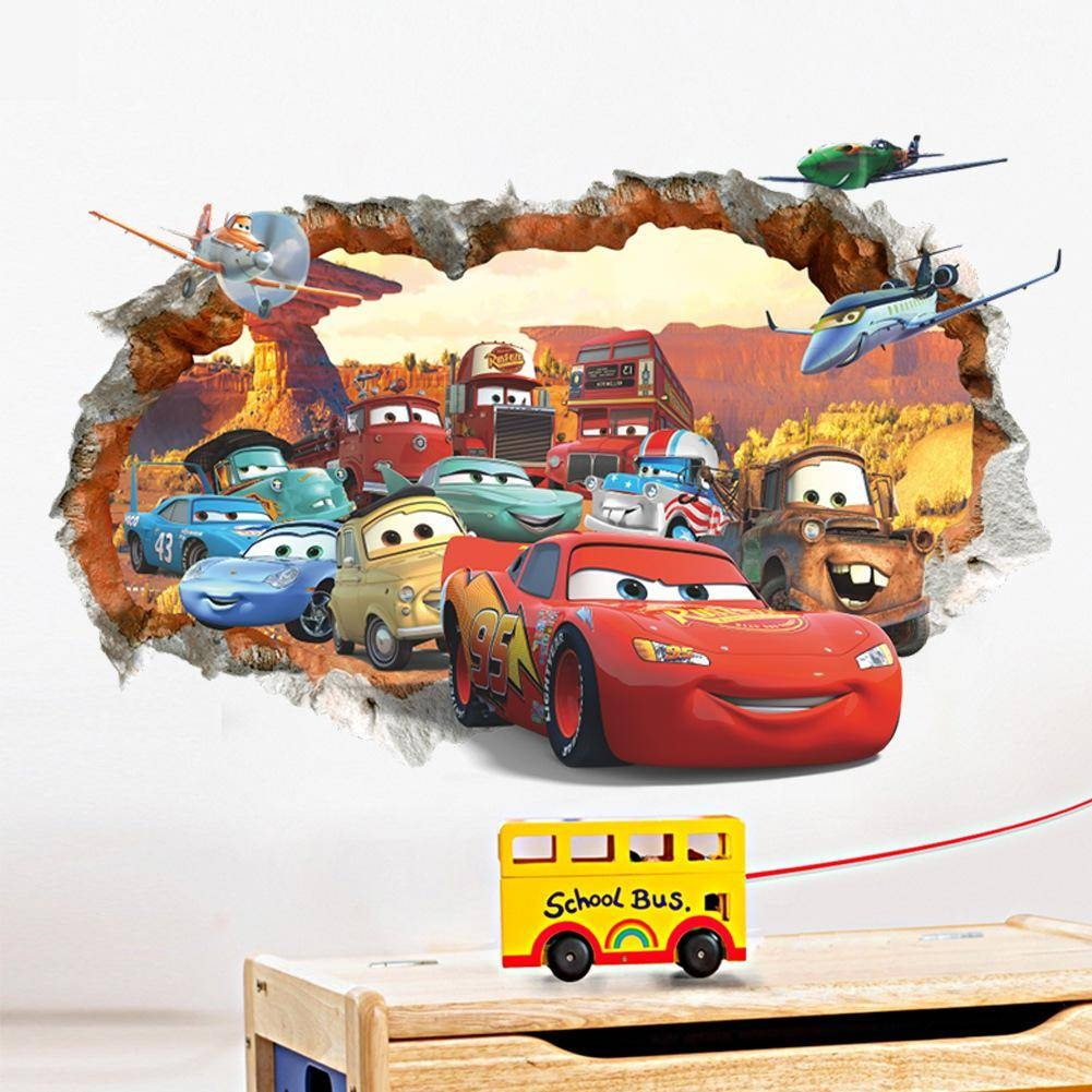 New Car General Mobilization 3D Broken Wall Children's Bedroom In Current Cars 3D Wall Art (View 16 of 20)