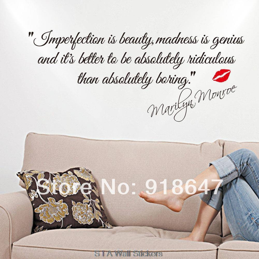 New High Quality English Quotes Wall Stickers Imperfection Is throughout Most Recently Released Marilyn Monroe Wall Art Quotes
