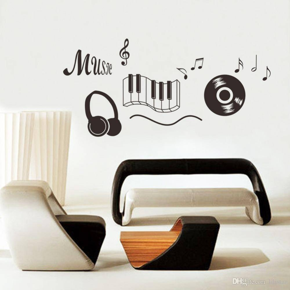 New Music Note Piano Cd Earphone Music Classroom Wall Sticker Home in Best and Newest Music Note Art For Walls