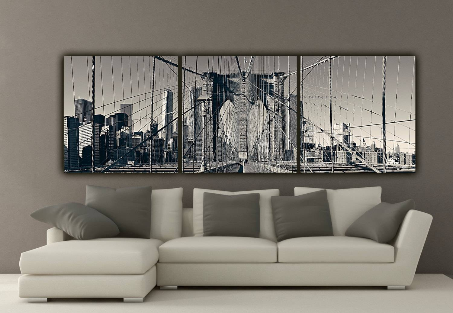 New York Brooklyn Bridge Canvas Wall Art Black And White New With Regard To Current New York Skyline Canvas Black And White Wall Art (View 2 of 20)