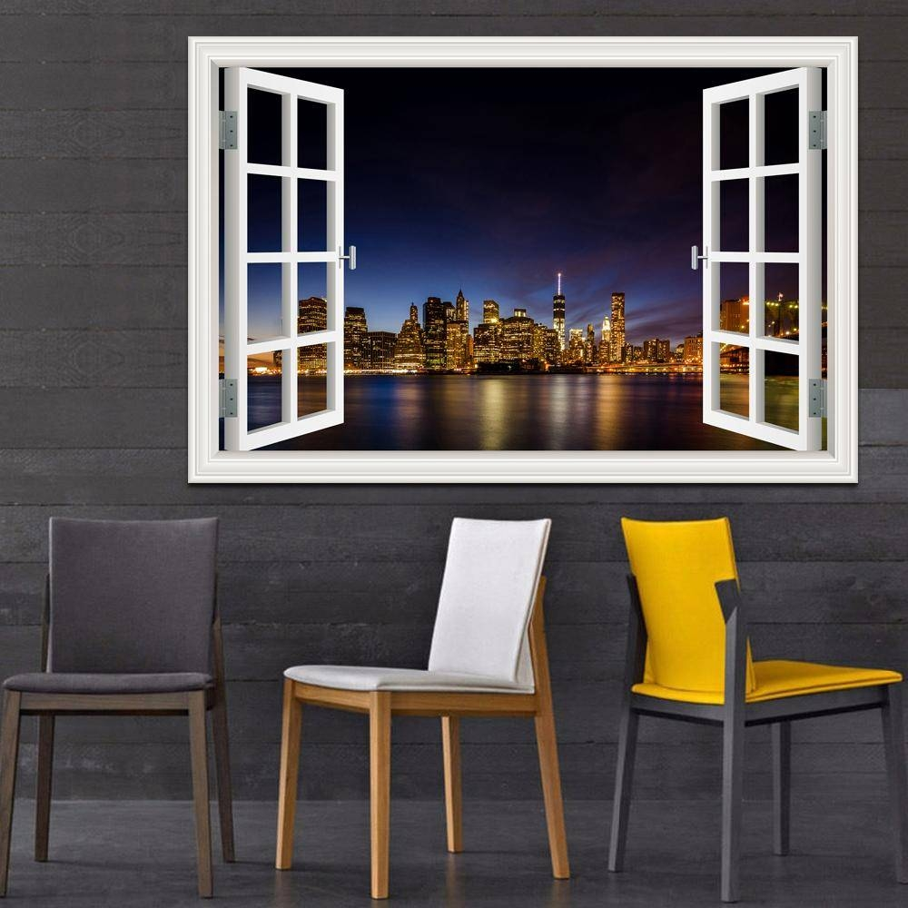New York Brooklyn Magnificent Night View High Quality 3D Wall within Current New York 3D Wall Art