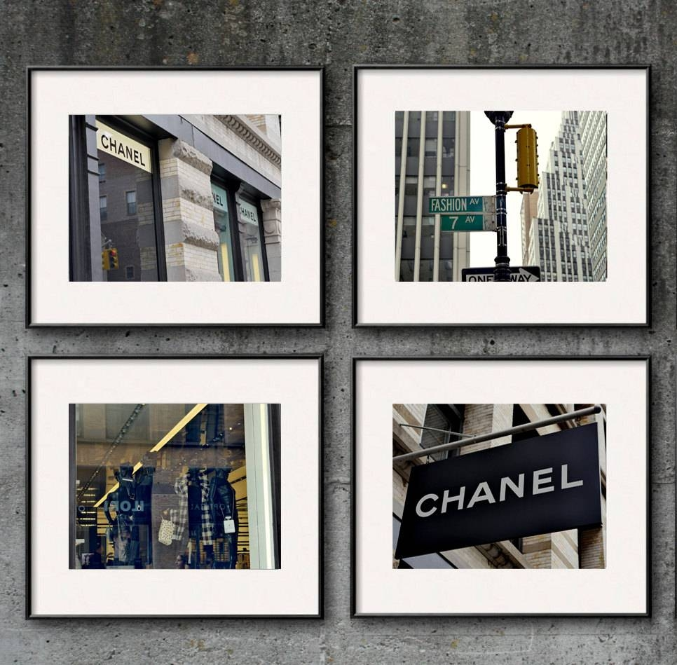 New York City Fashion Wall Art Set Of 4 | Coco Chanel Wall Decor with Best and Newest Chanel Wall Decor