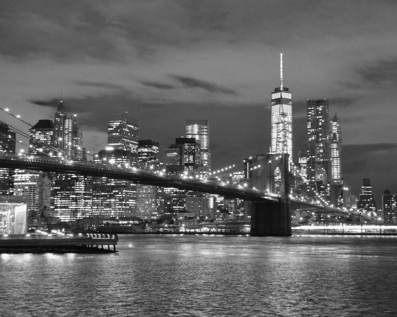New York City Skyline And The Brooklyn Bridge At Night Black pertaining to Most Up-to-Date New York Skyline Canvas Black And White Wall Art