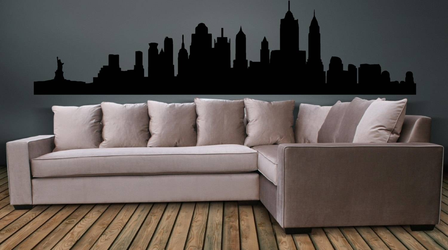 New York City Skyline Wall Decal Wall Art Sticker Pertaining To Most Recent New York City Wall Art (View 7 of 20)