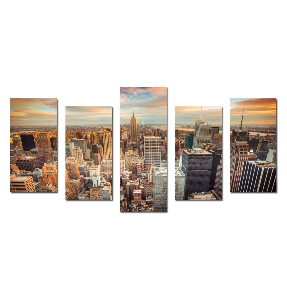 New York Cityscape Empire States Building Split 5 Panel Canvas With Most Current Split Wall Art (View 15 of 20)