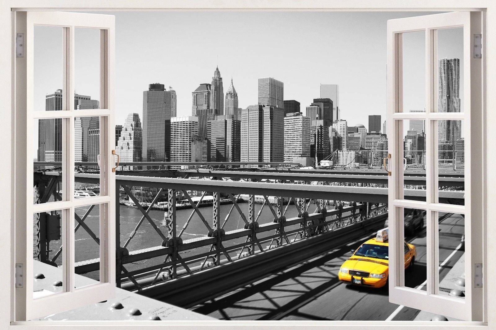 New York Decal 3D Window Wall View Sticker Removable Vinyl Wall Regarding Current New York 3D Wall Art (View 16 of 20)