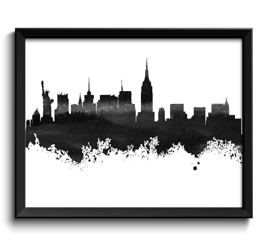 New York Skyline Black White Grey Watercolor Painting New York In Latest New York Skyline Canvas Black And White Wall Art (View 8 of 20)