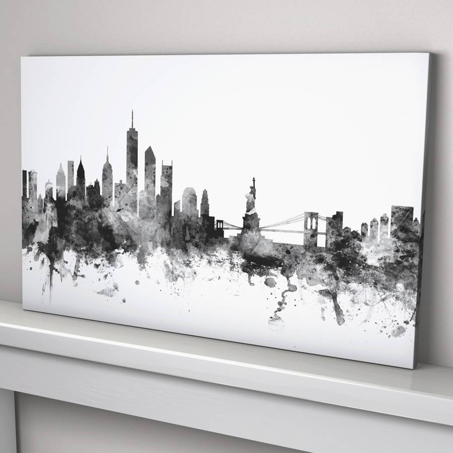 New York Skyline Cityscape Black And Whiteartpause For Most Current New York Skyline Canvas Black And White Wall Art (View 10 of 20)