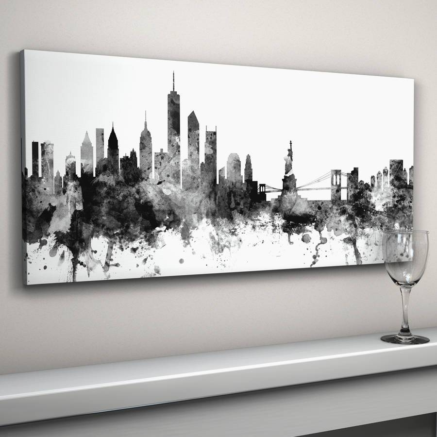 New York Skyline Cityscape Black And Whiteartpause Throughout Newest Black And White New York Canvas Wall Art (View 11 of 20)