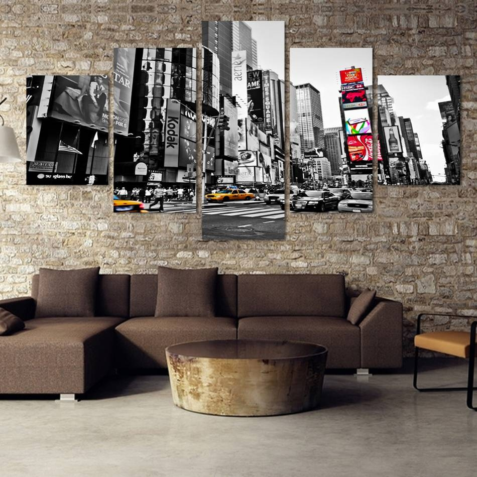 New York Times Square 5 Pieces Wall Art Canvas Poster Within Best And Newest New York City Canvas Wall Art (Gallery 14 of 20)
