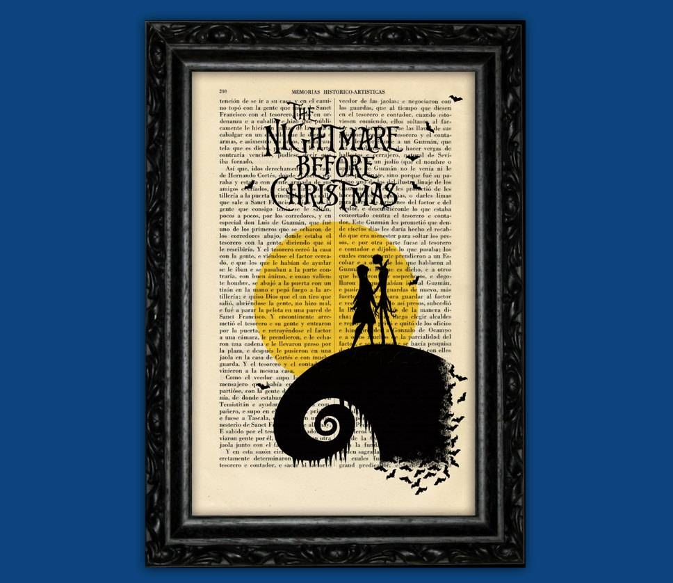 Nightmare Before Christmas Moon Print Tim Burton Halloween Throughout Recent Tim Burton Wall Decals (Gallery 12 of 20)