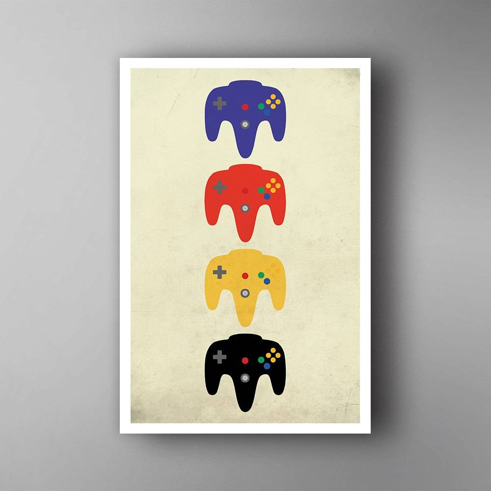 Nintendo 64 Inspired. N64 Pads. Nintendo. Video Game Poster (View 15 of 30)