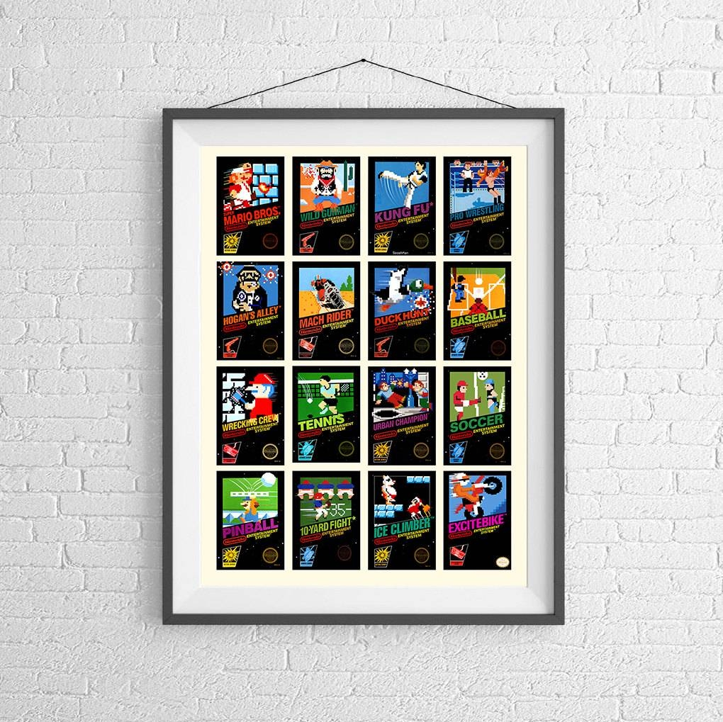 Nintendo 8-Bit Video Game Cover Poster Collection Of Vintage pertaining to Best and Newest Video Game Wall Art