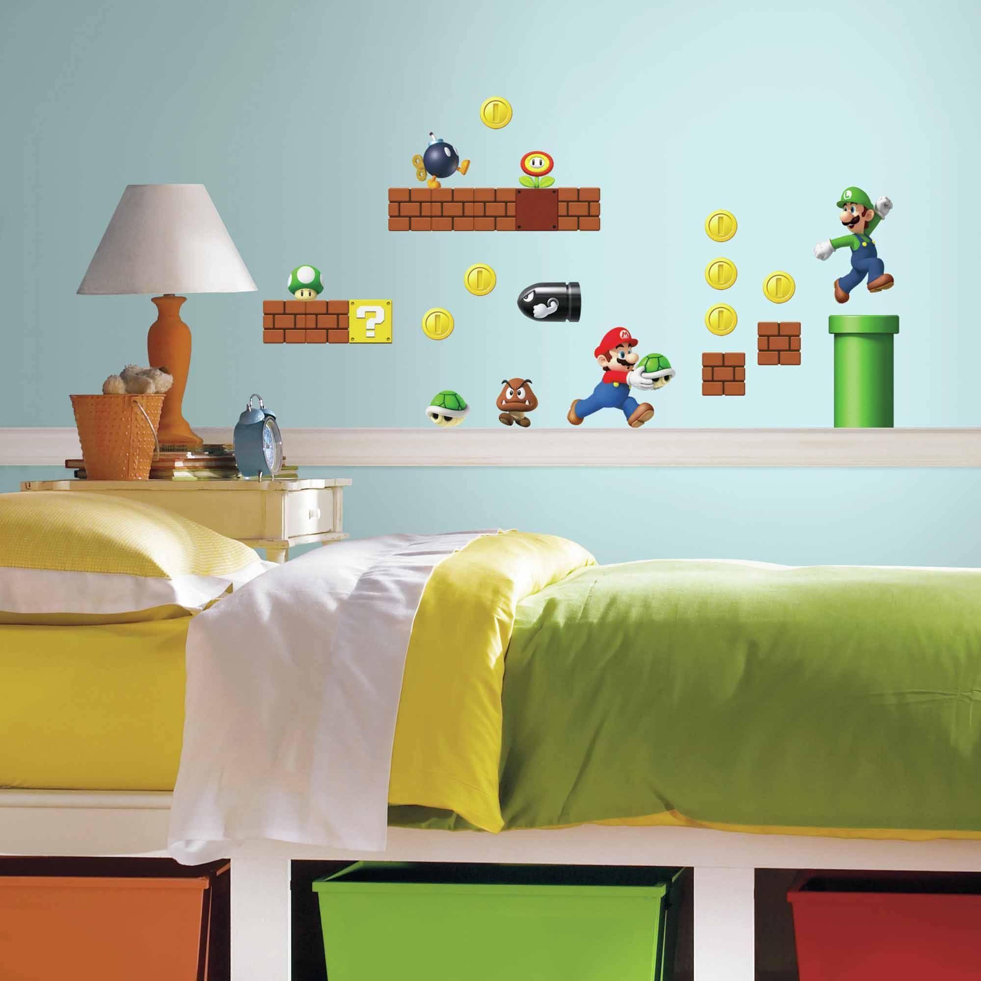 Nintendo Super Mario Build A Scene Peel And Stick Wall Decals in Latest Preschool Classroom Wall Decals