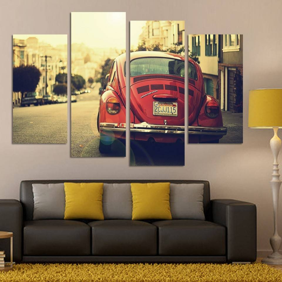 No Frame 4 Panel Classic Sports Car Wall Art Picture Cool Orange In Best And Newest Classic Car Wall Art (View 11 of 25)