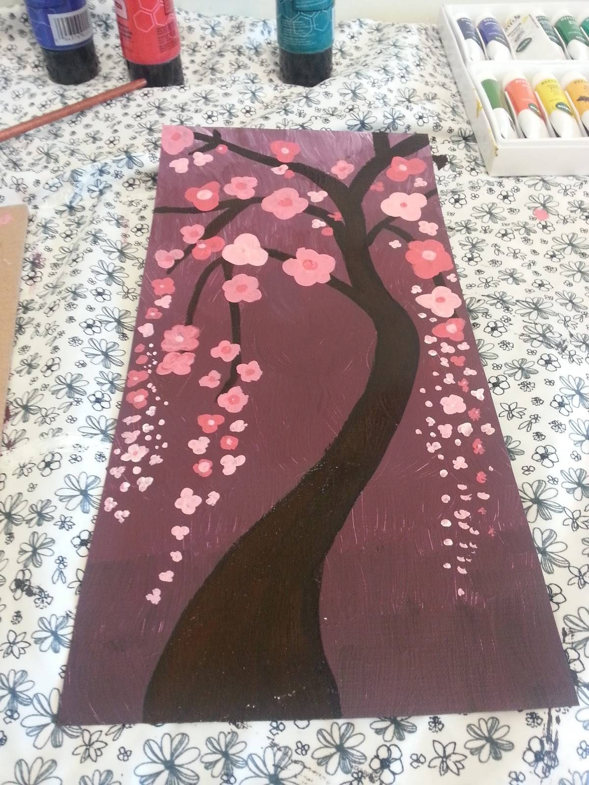 Noodle Reviews: Diy Wall Art – Cherry Blossoms With Acrylic Paint For Recent Red Cherry Blossom Wall Art (View 14 of 30)