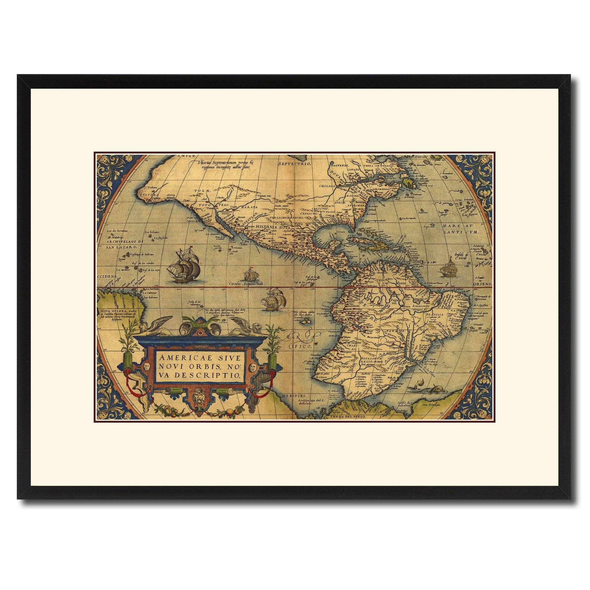 North South America Vintage Antique Map Wall Art Home Decor Gift throughout Newest Antique Map Wall Art