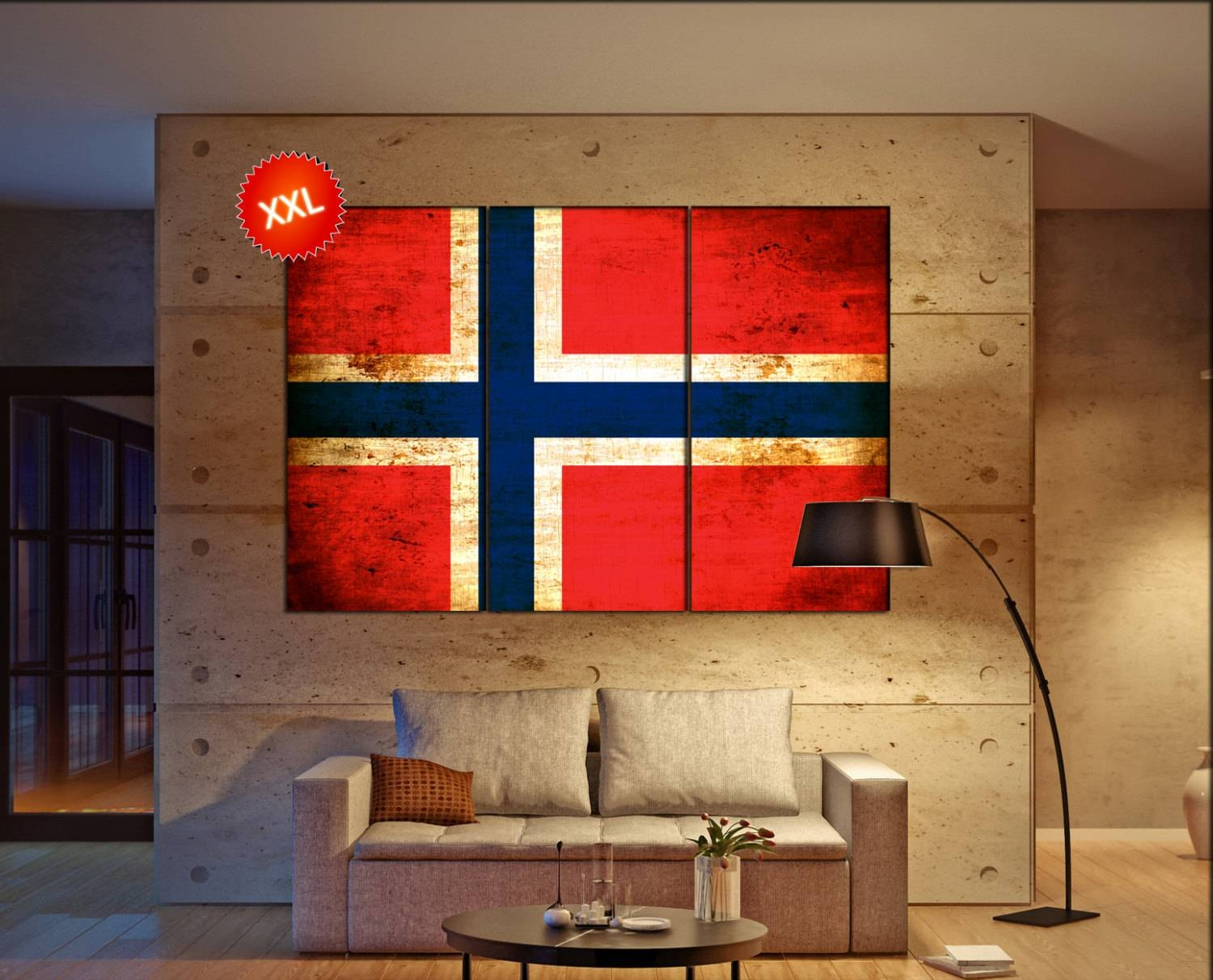 Norway Flag Canvas Wall Art Art Print Large Canvas Wall Art Print within 2017 Country Canvas Wall Art