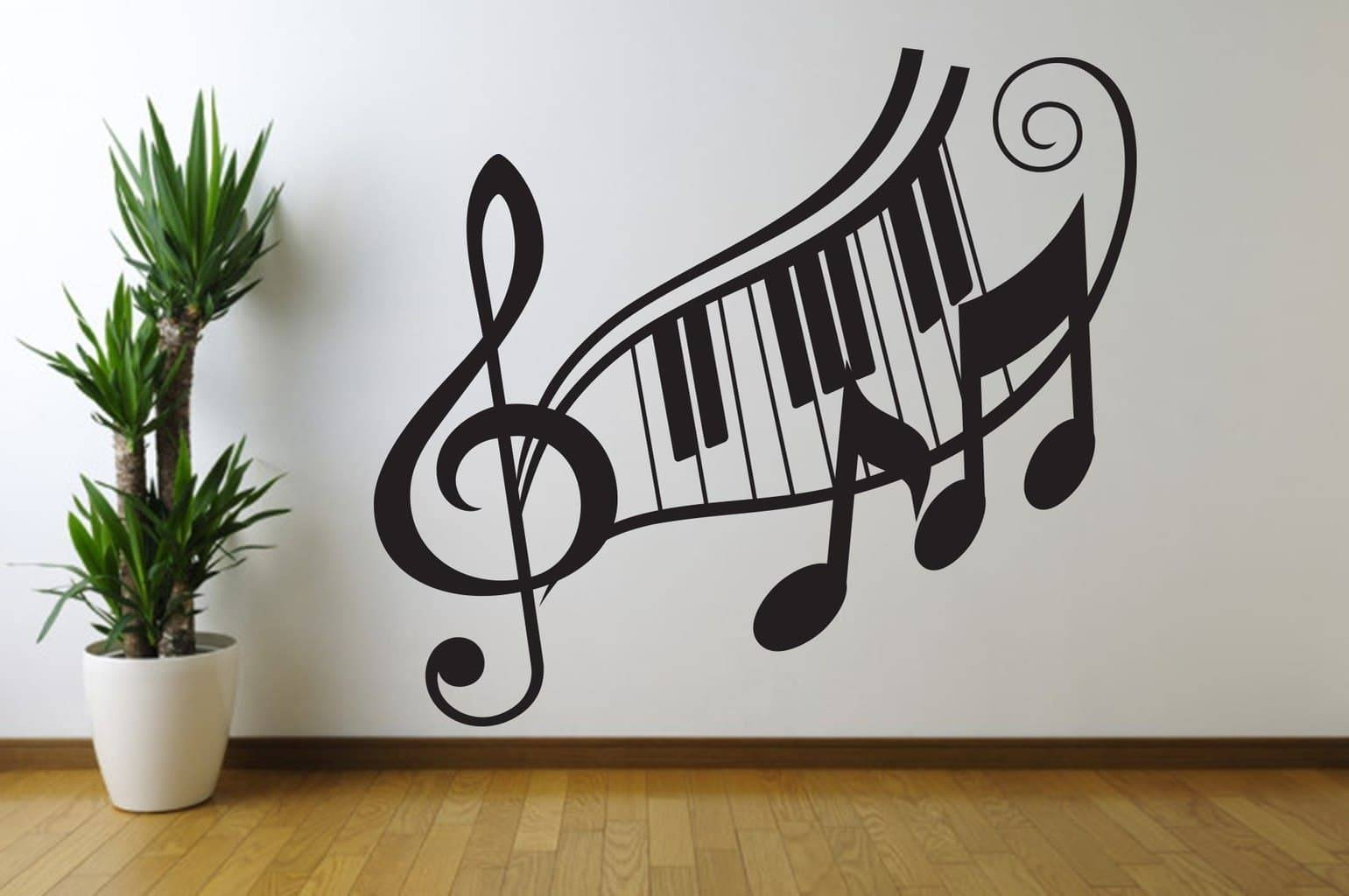 Note Treble Clef Wall Art Decal inside Most Current Music Note Wall Art