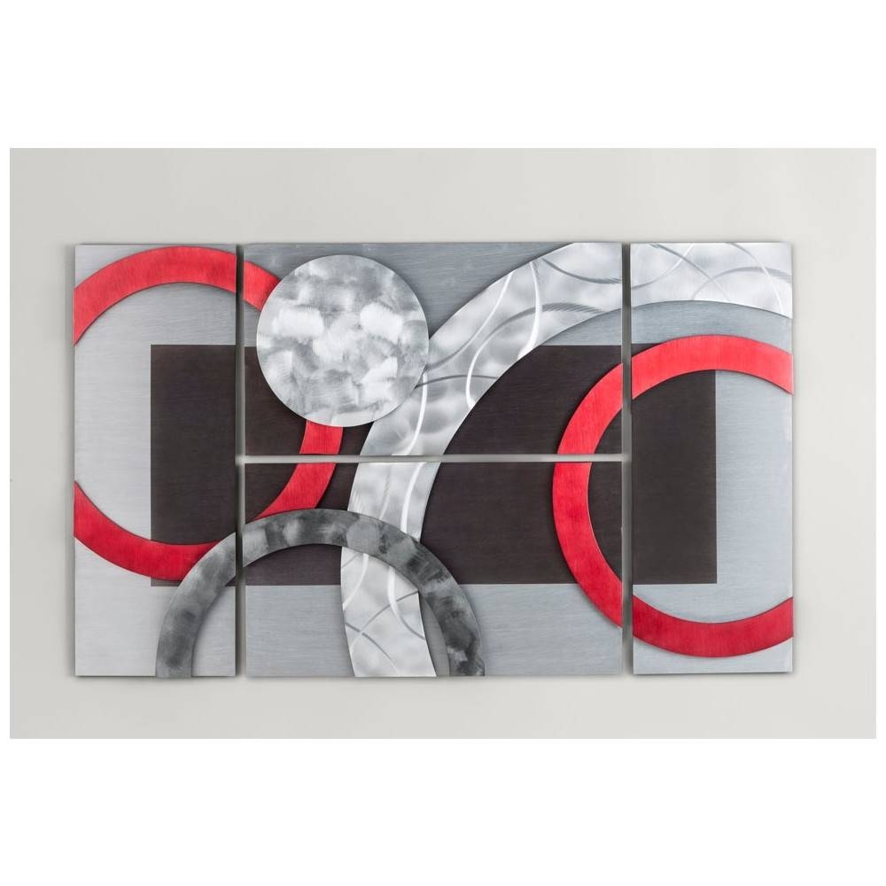 Nova 3710359 Del Mar Wall Art 4 Pieces In Brushed Aluminum & Garnet In Latest Nova Wall Art (View 16 of 20)