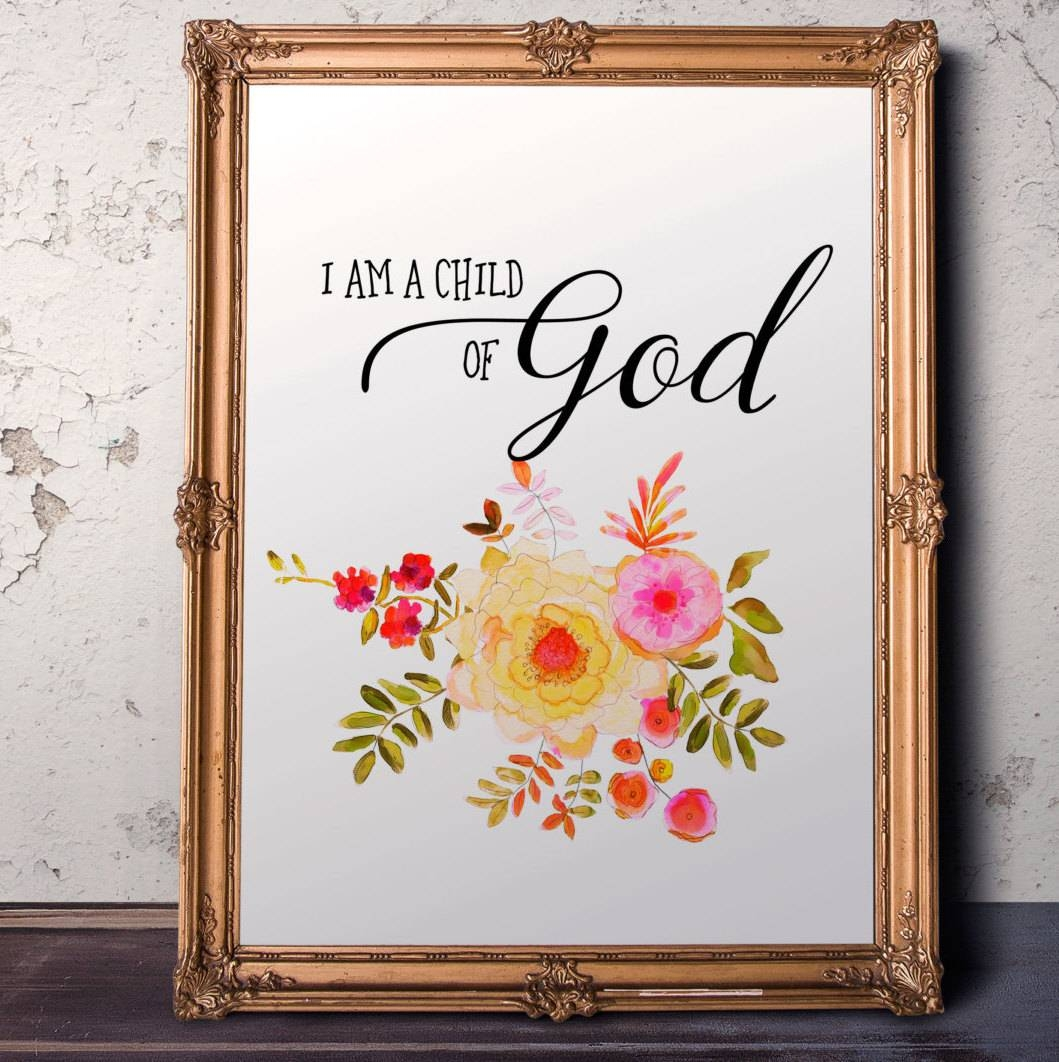 Nursery Bible Verse I Am A Child Of God Baptism Gift Girl For 2018 Bible Verses Framed Art (View 16 of 25)