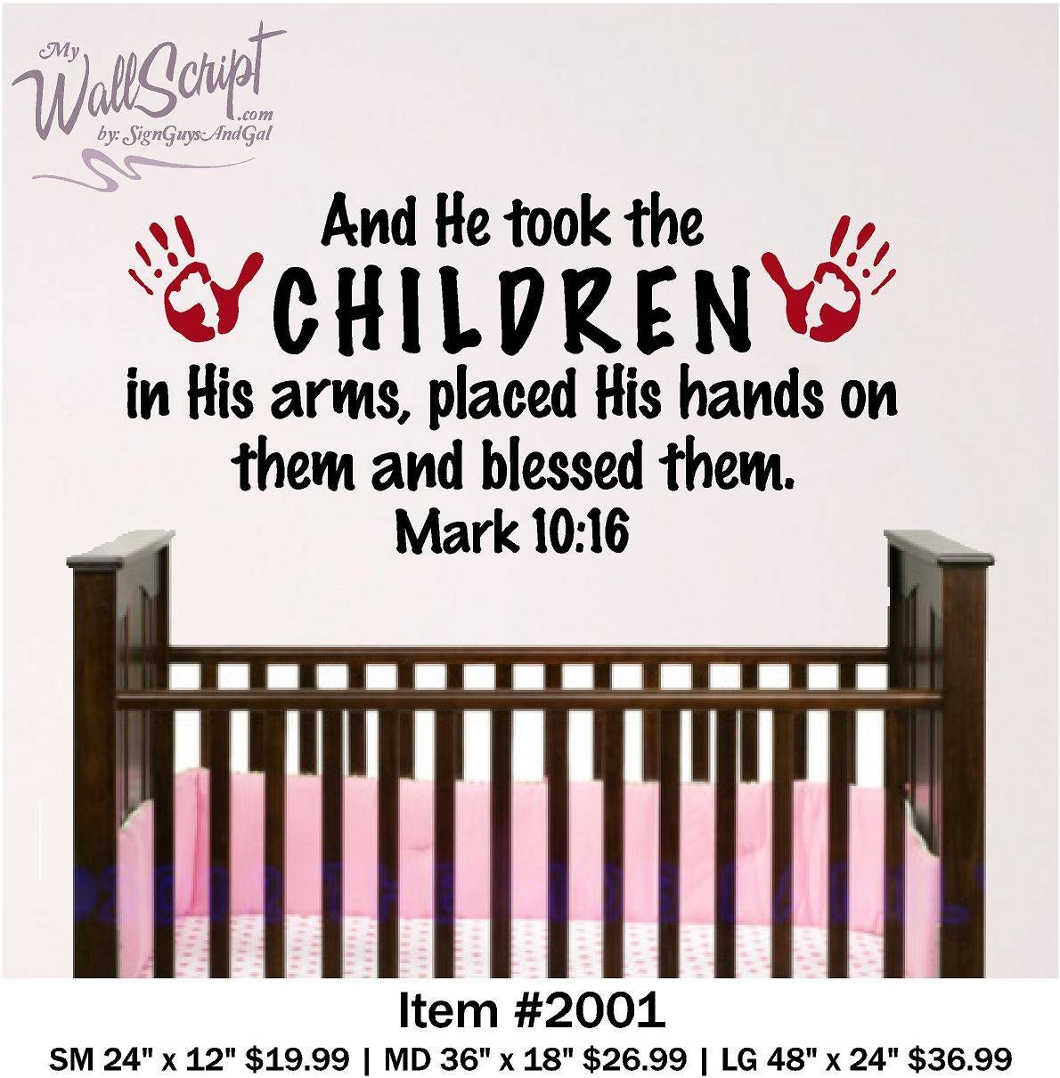 Nursery Bible Verse Wall Art 4ft And He Took The Children In Throughout Latest Nursery Bible Verses Wall Decals (View 12 of 25)