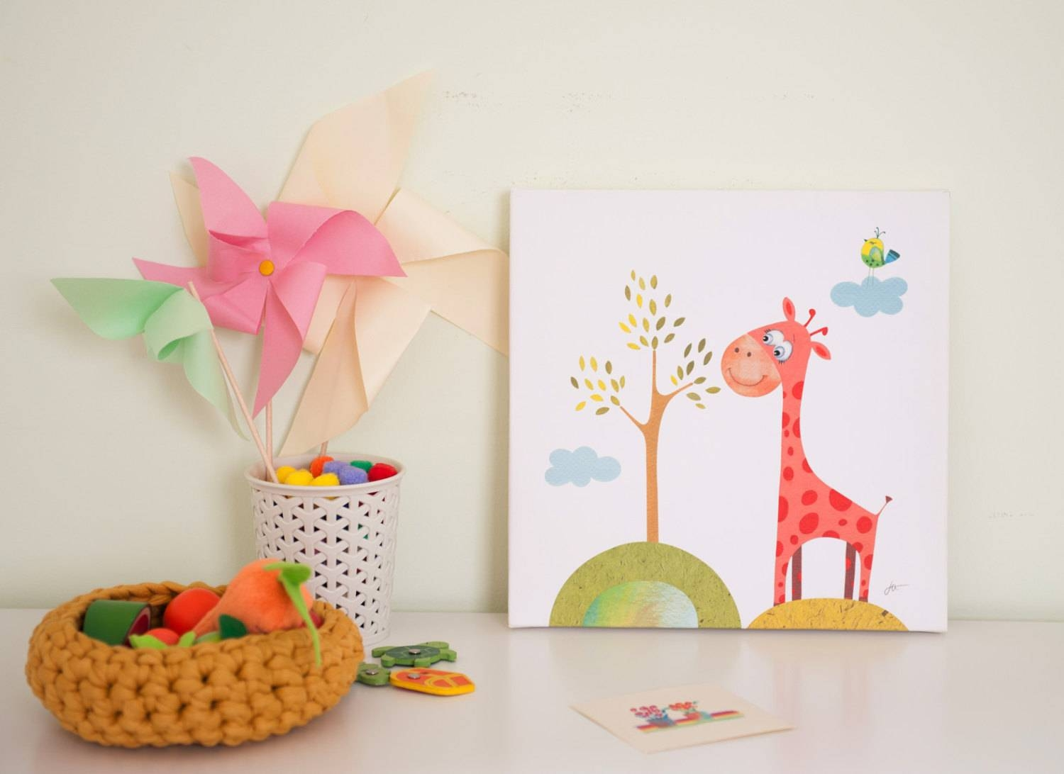 Nursery Canvas Art Baby Room Decor Animal Canvas Giraffe Intended For Most Popular Nursery Canvas Art (View 15 of 20)