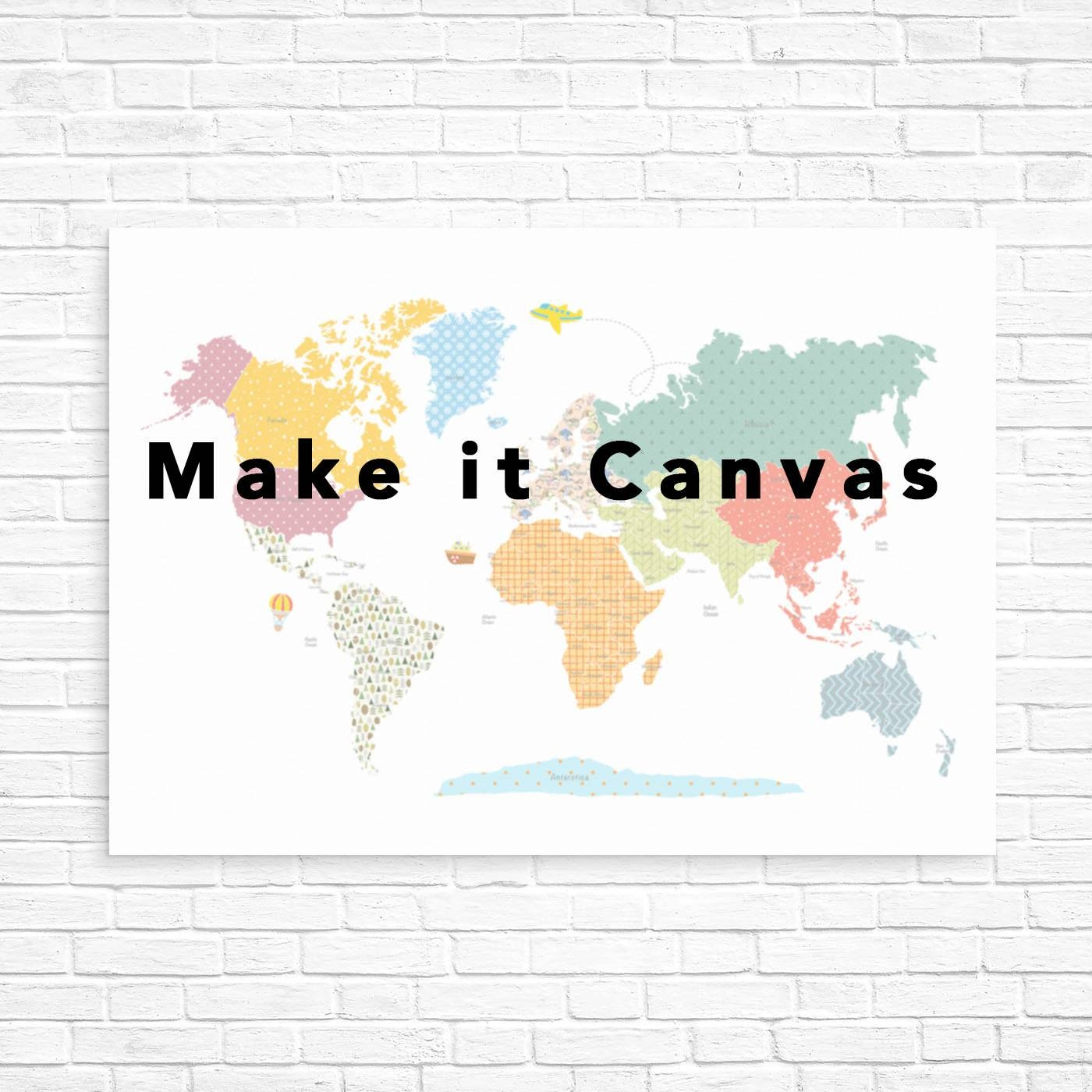 Nursery Canvas Art Kids World Map Canvas Canvas Art For Pertaining To Recent Kids Canvas Wall Art (View 17 of 20)