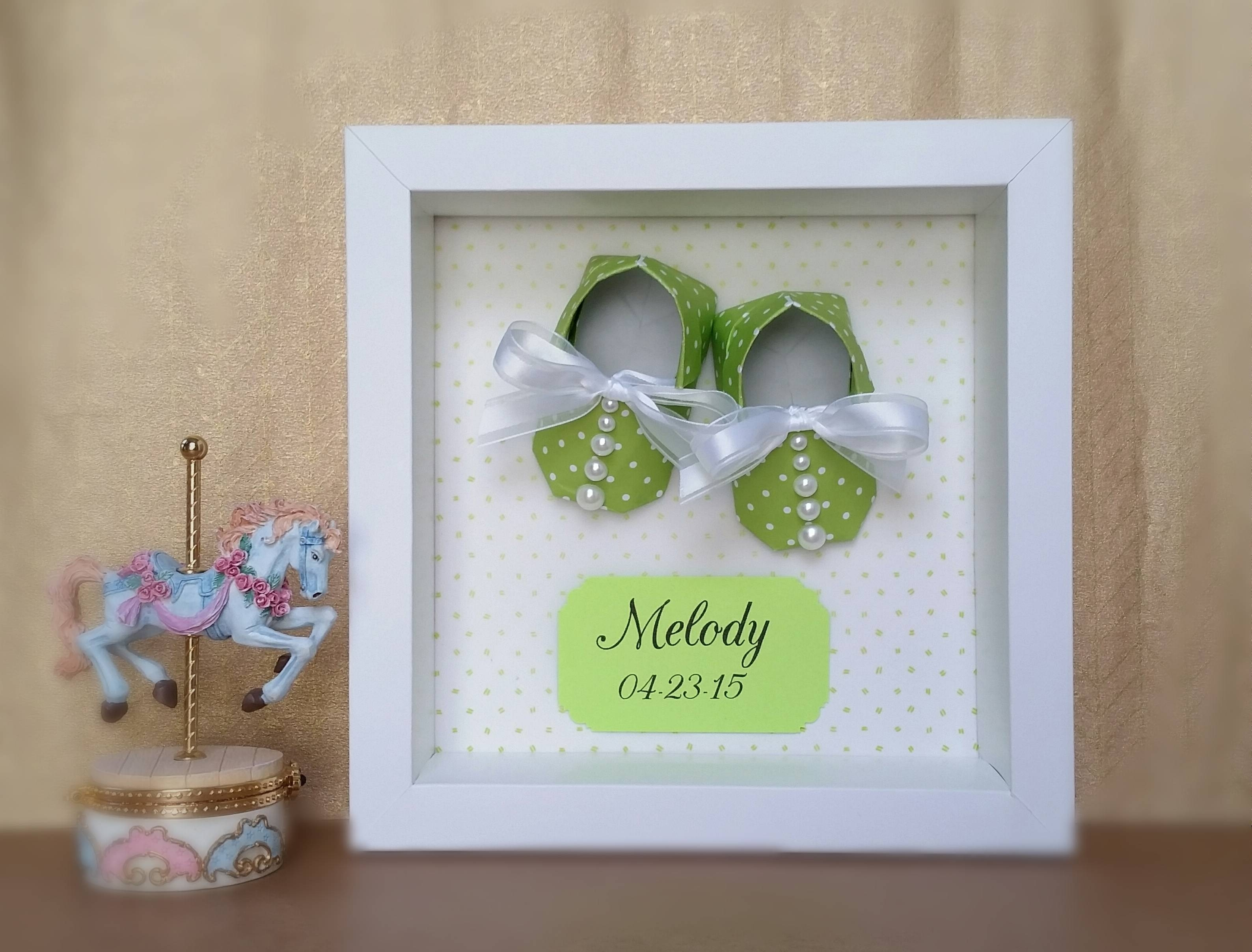 Nursery Decor, Origami Baby Shoes Booties Framed 3d Wall Art For Most Recent Framed 3d Wall Art (View 10 of 20)