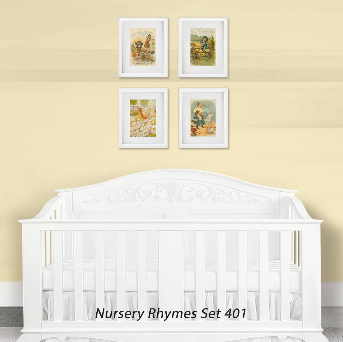 Nursery Wall Art Print Set, Children's Nursery Rhymes, Baby Shower With Most Popular Nursery Framed Wall Art (View 12 of 20)