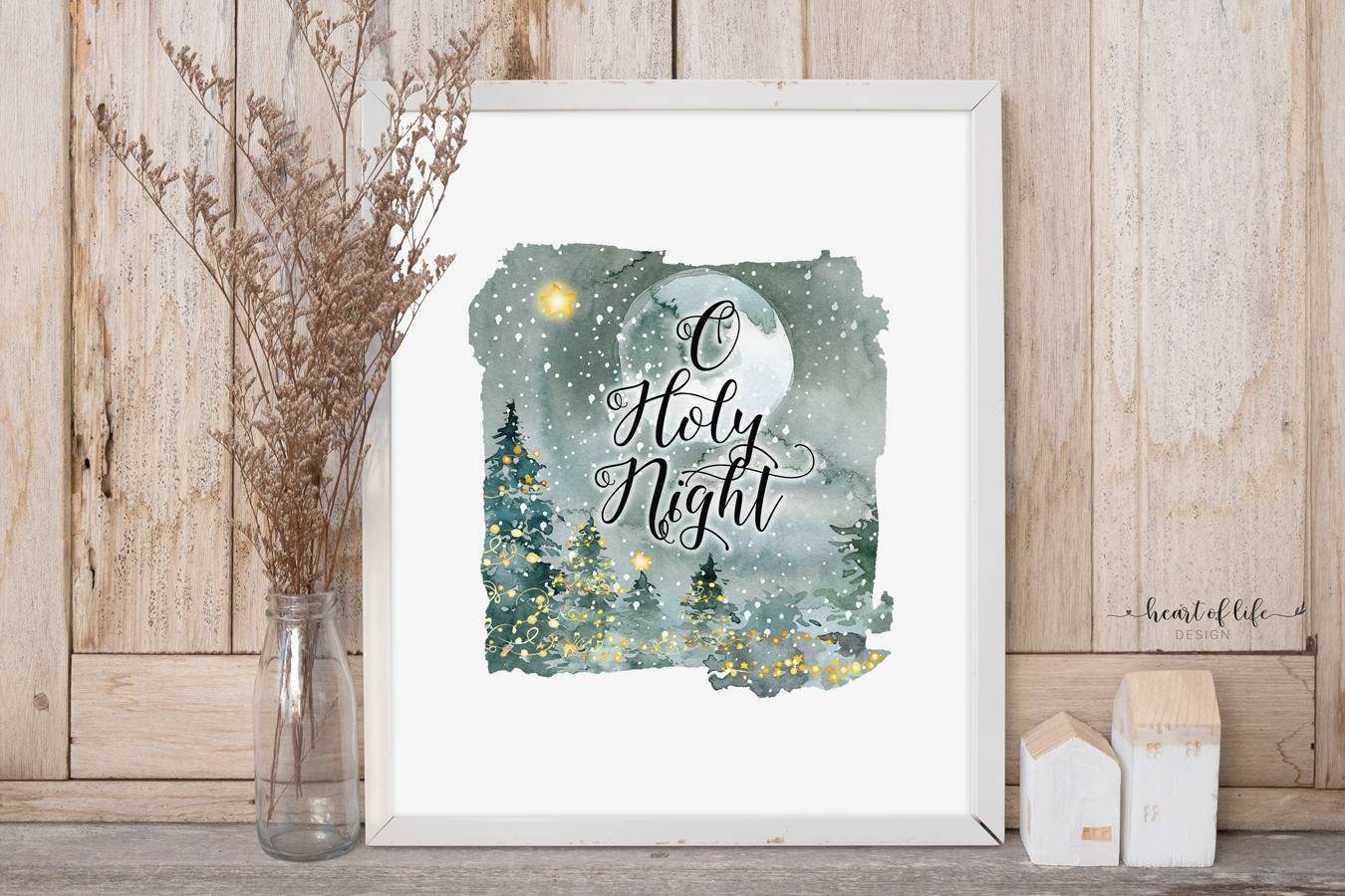 O Holy Night Printable Christmas Art Print Watercolor Night With Regard To Most Current Seasonal Wall Art (View 12 of 20)