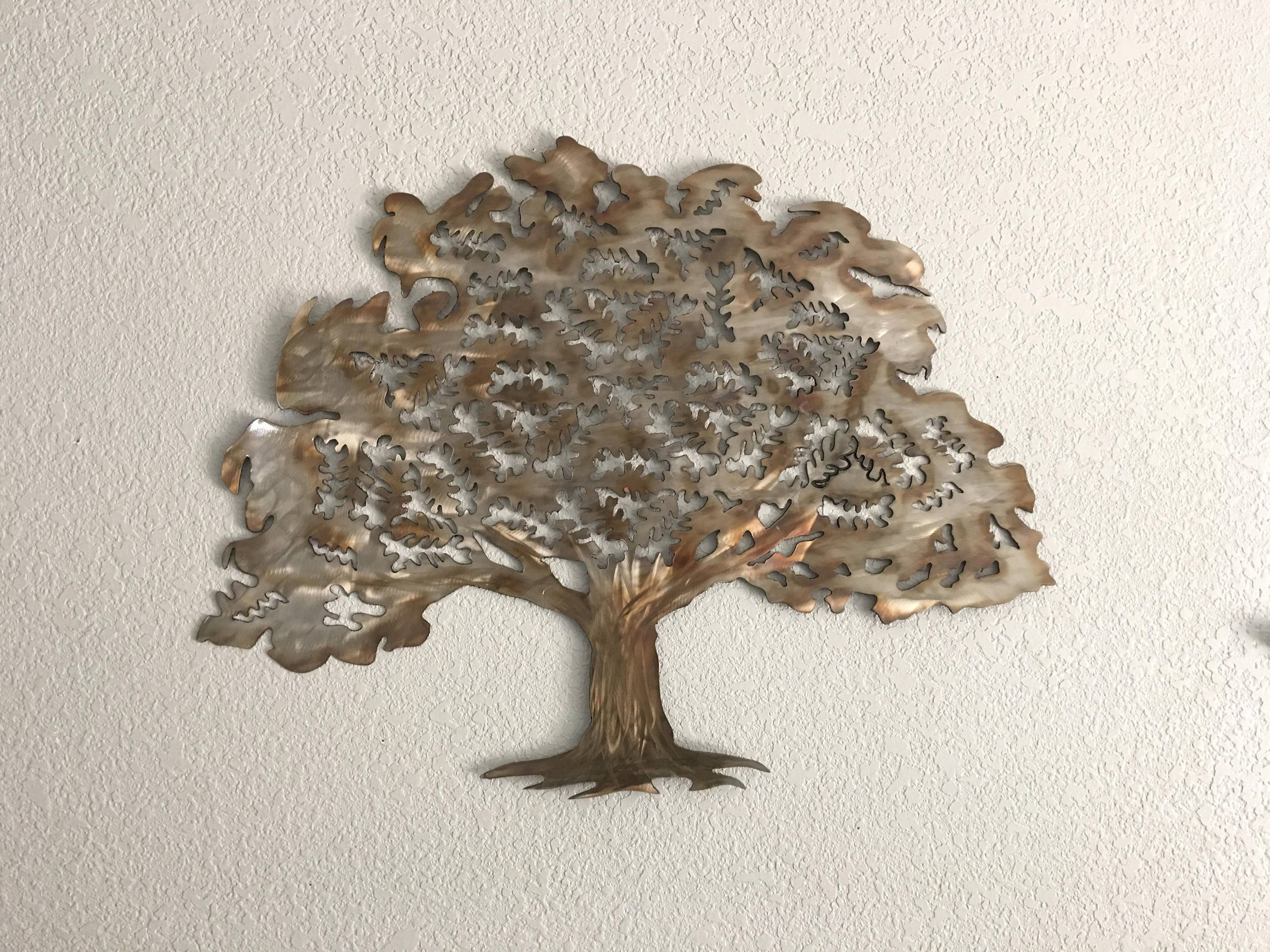 Oak Tree – Stainless Steel Tree – Wall Art – Home Decor Intended For Current Metal Oak Tree Wall Art (View 18 of 30)