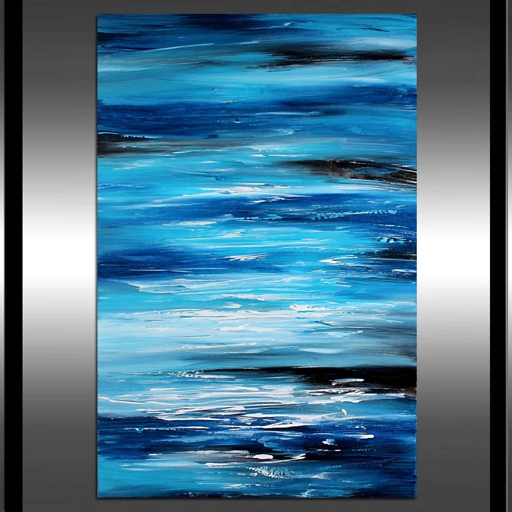 Ocean Beach Wall Art Teal Abstract Painting Blue Extra Large For Most Current Beach Wall Art (View 10 of 15)