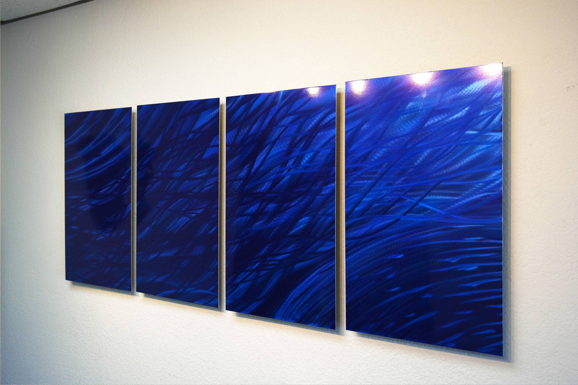 Ocean Dark Blue – Metal Wall Art Abstract Sculpture Modern Decor Regarding Most Recently Released Blue Wall Art (View 15 of 20)