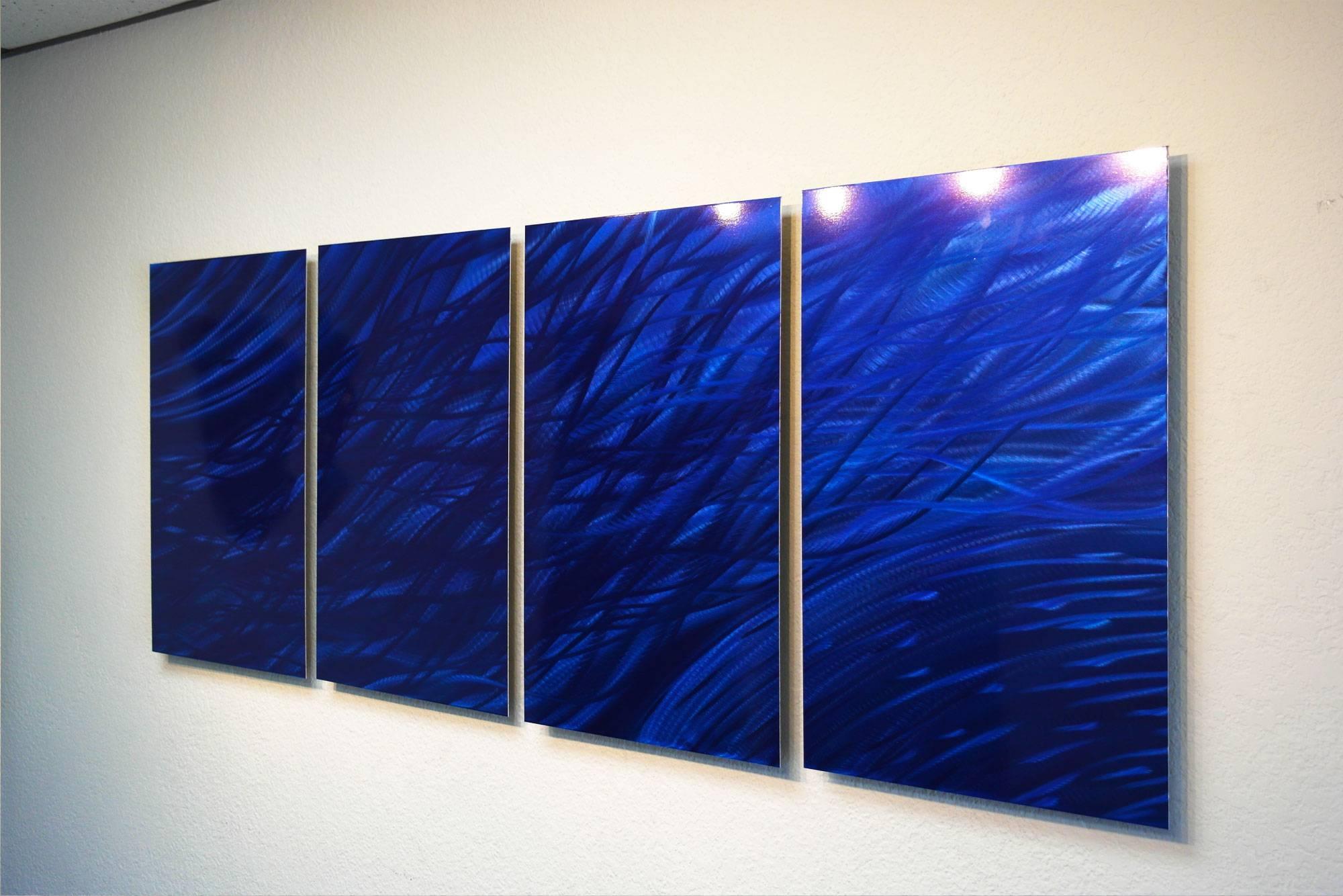 Ocean Dark Blue – Metal Wall Art Abstract Sculpture Modern Decor Regarding Most Recently Released Blue Wall Art (View 16 of 20)