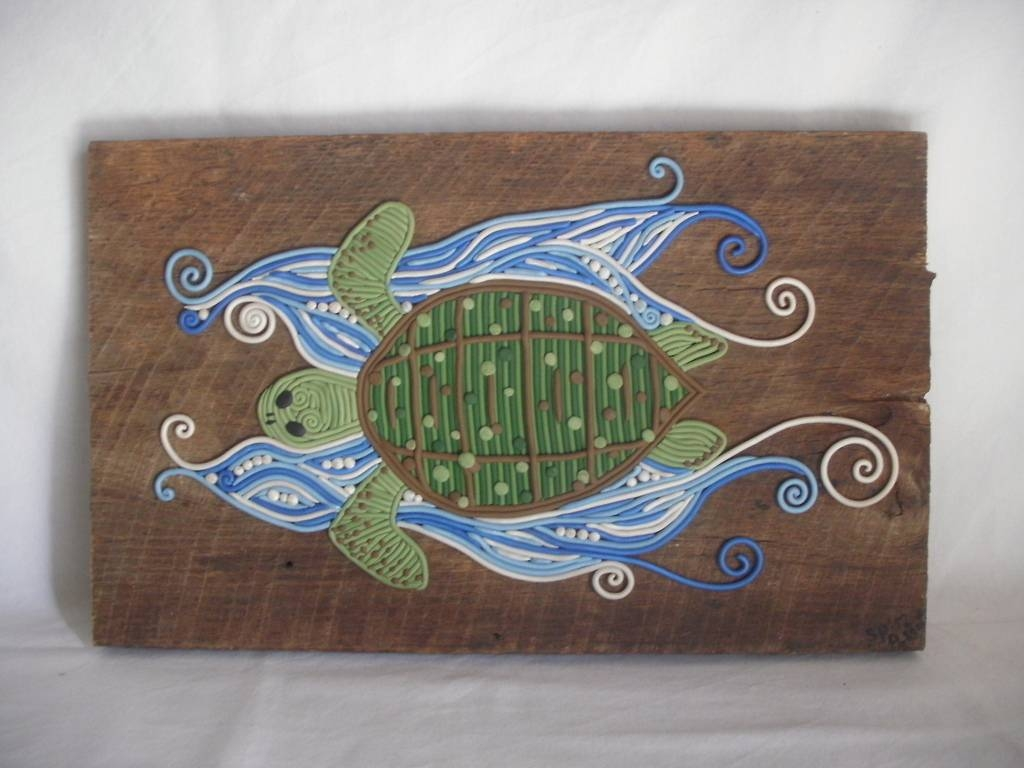 "Ocean Traveller"" Polymer Clay Turtle Wall Art 
