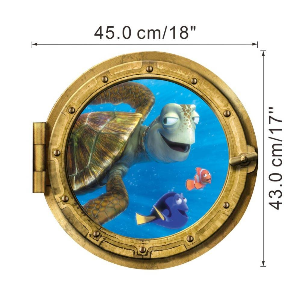Ocean View Tortoise Fish 3D Wall Sticker Bathroom Decals Sea Wall Throughout Latest Fish 3D Wall Art (Gallery 17 of 20)
